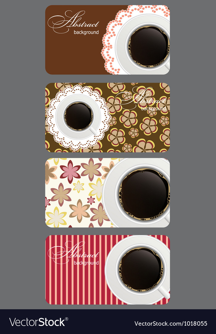 Set of nature coffee gift cards vector