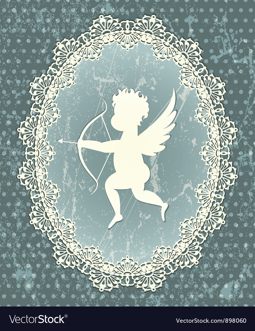 Cupid medallion vector
