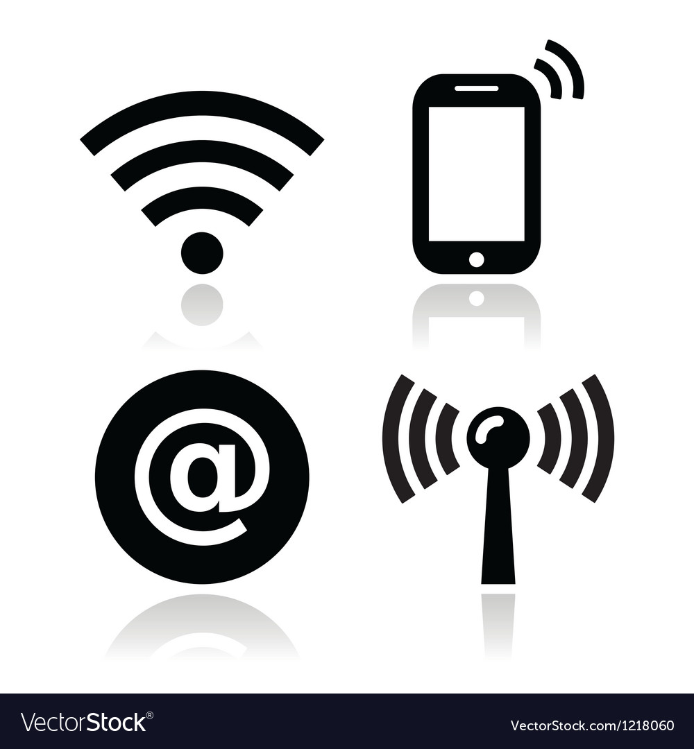 Wifi network internet zone icons set vector
