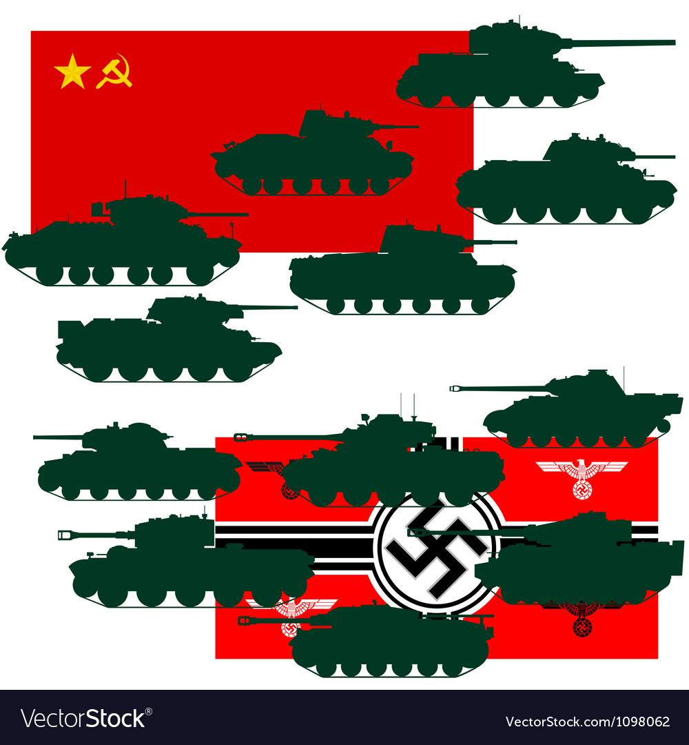 Set of war tanks vector