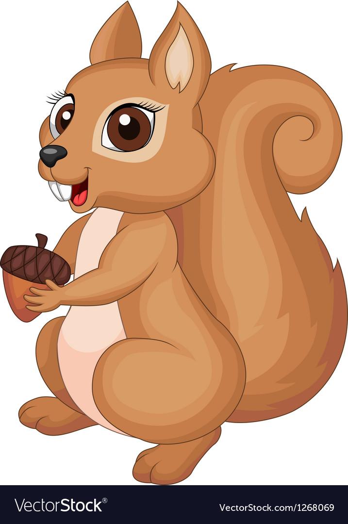 Cute cartoon squirrel holding a corn vector