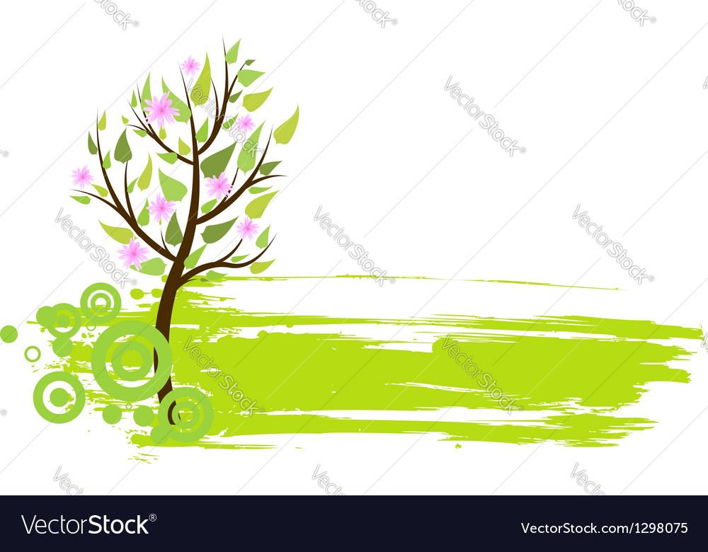 Blossom tree grunge vector