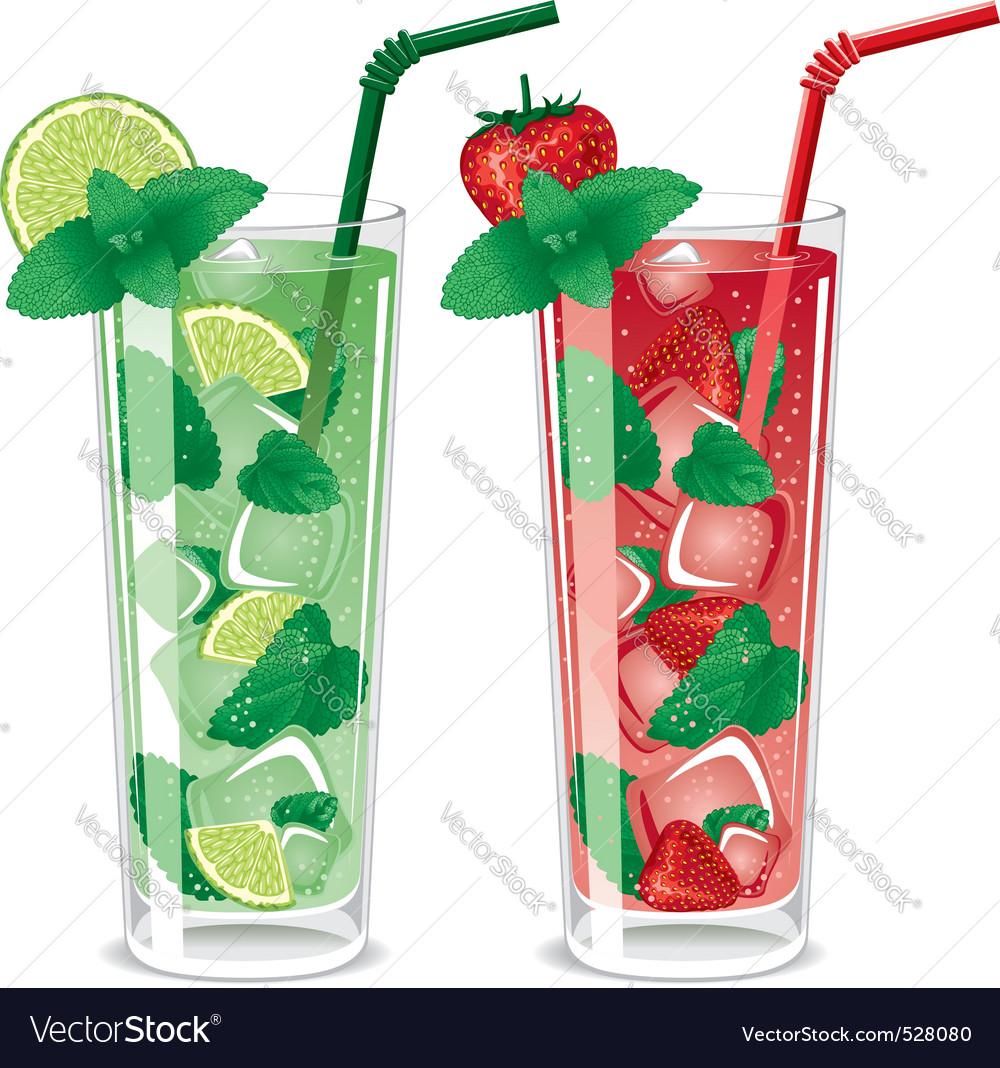 Refreshing mojito cocktails vector