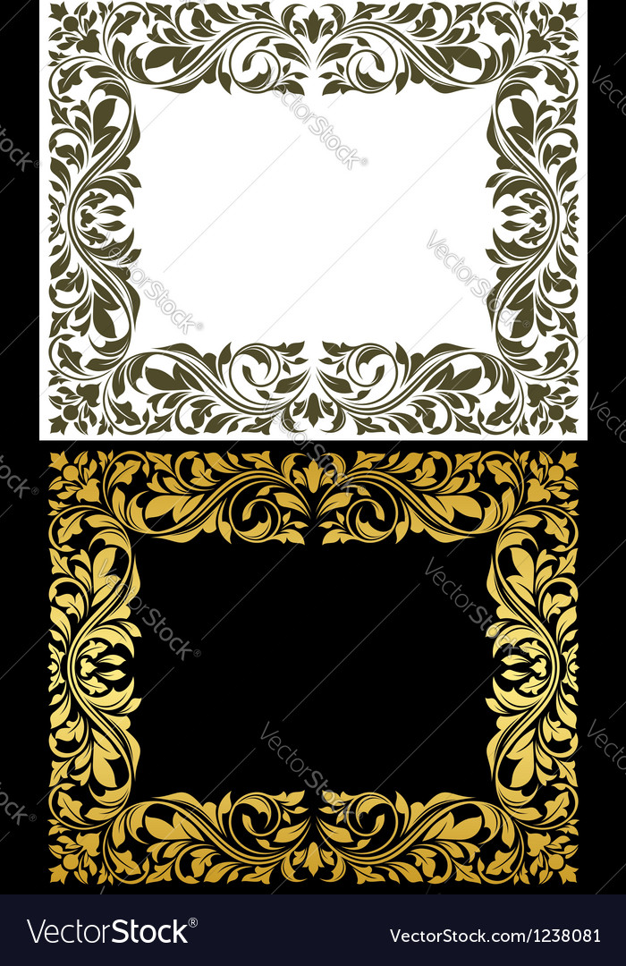 Golden frame with decorative floral elements vector