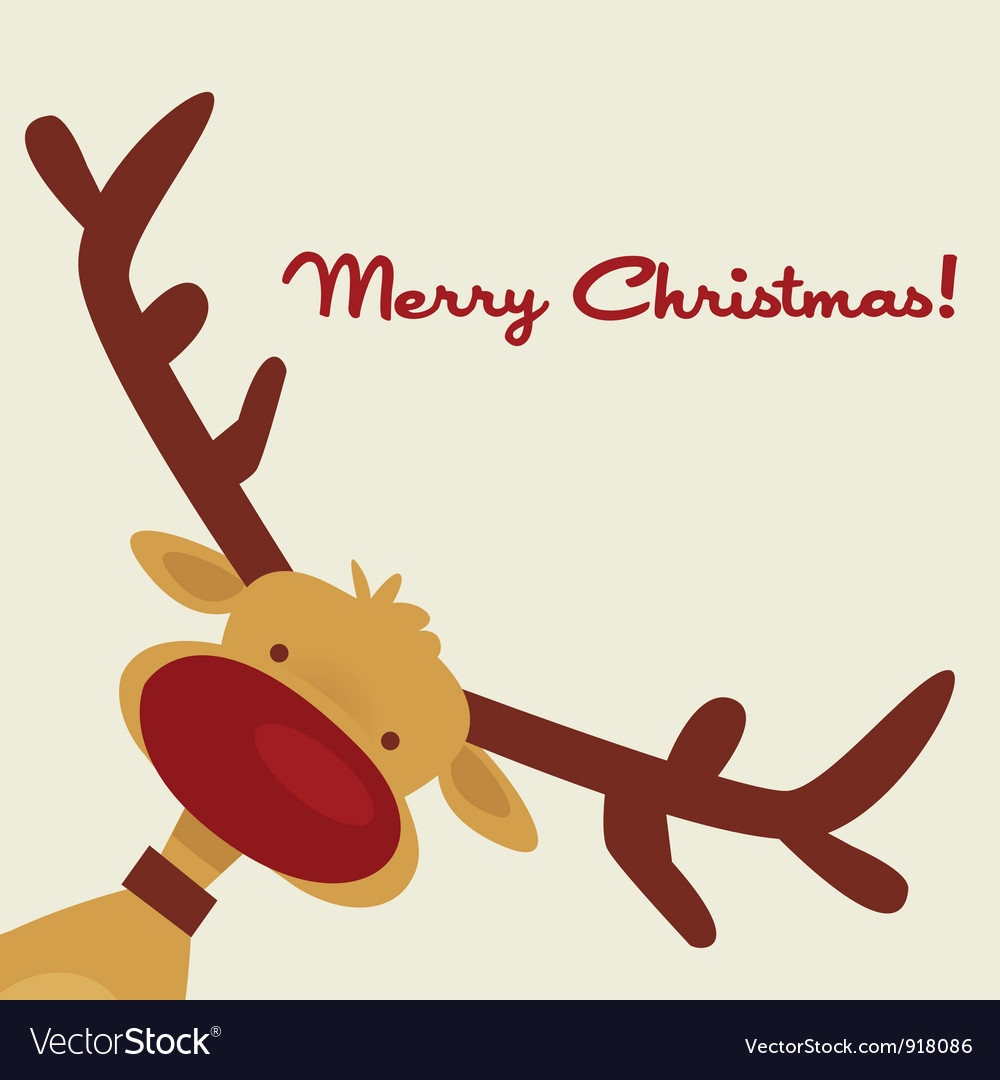 Christmas card with reindeer vector