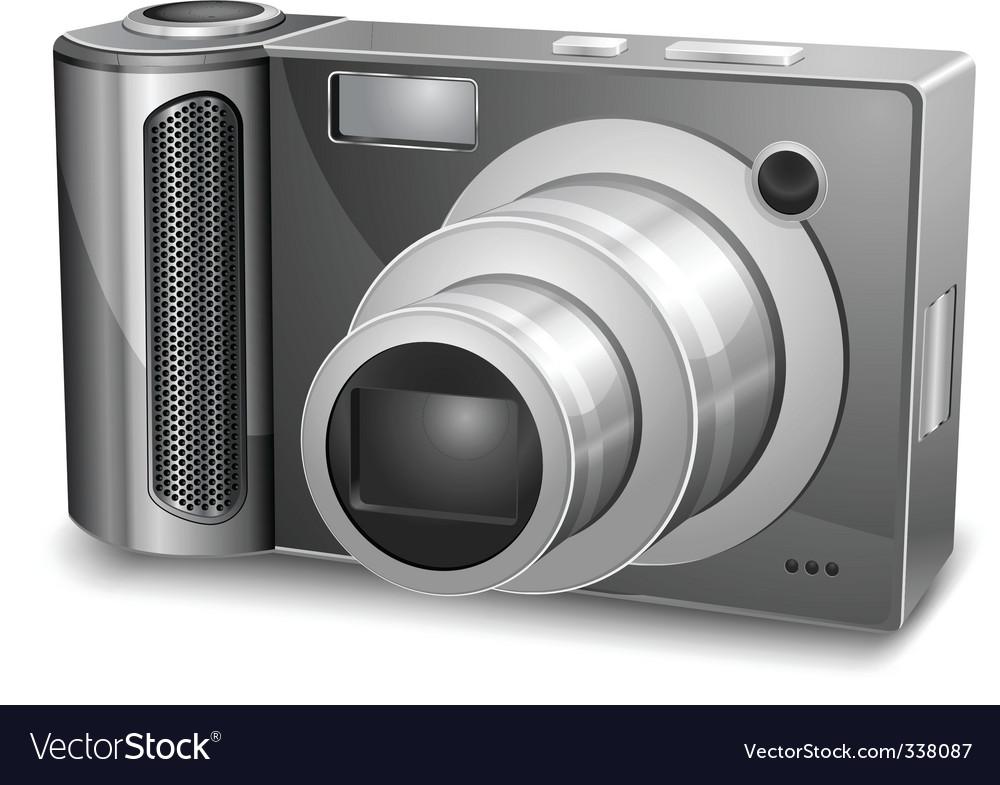 Silver photo camera vector