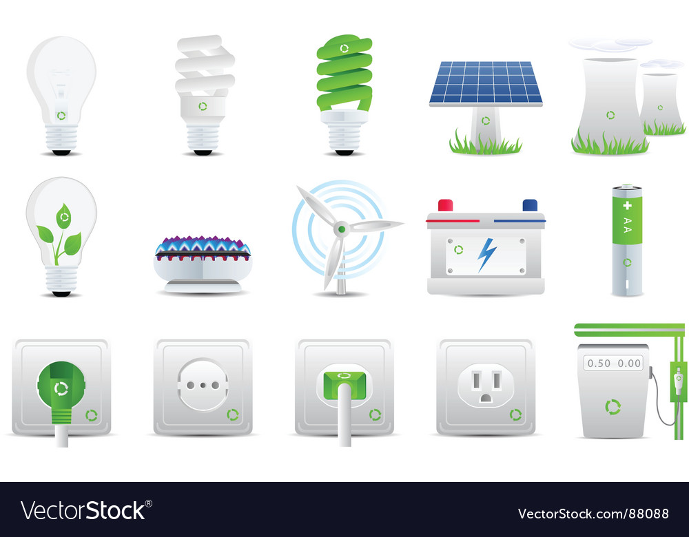 Energy and electricity icons vector