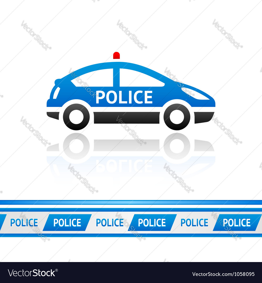 Police car police tape vector