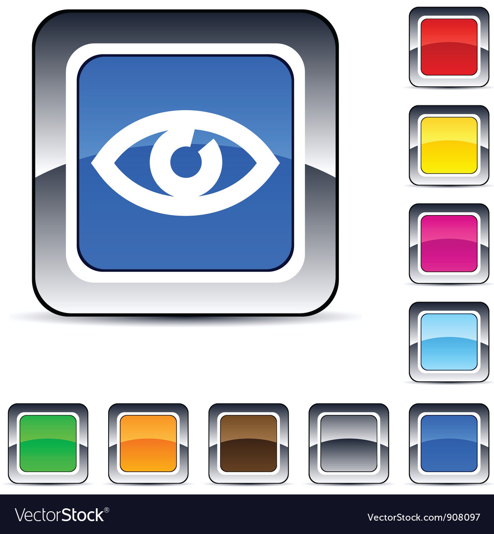 Eye square button vector