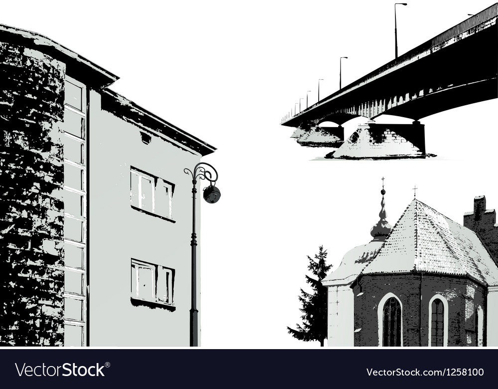 Set of few buildings  cityscapes vector