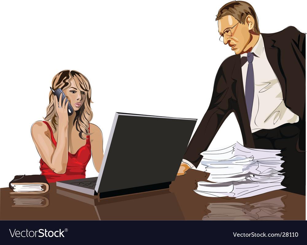 Boss and secretary vector