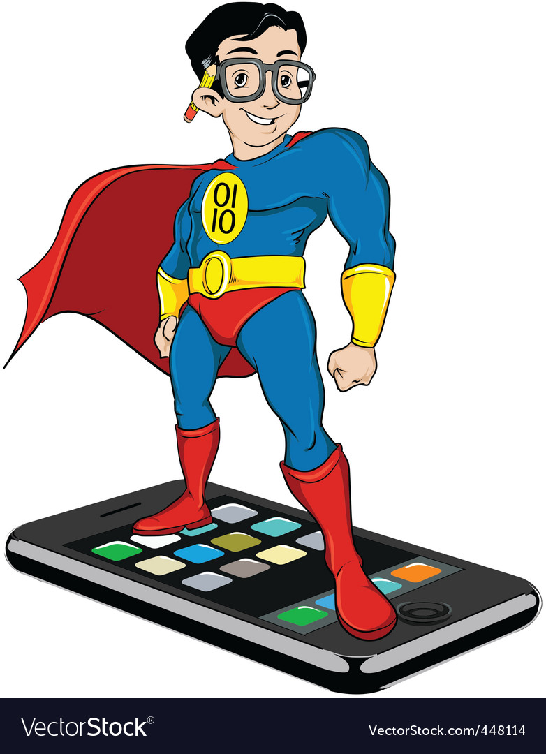 Super nerd on iphone vector