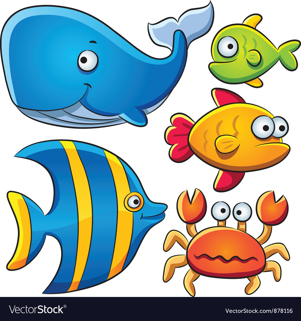 Sea fish collection vector