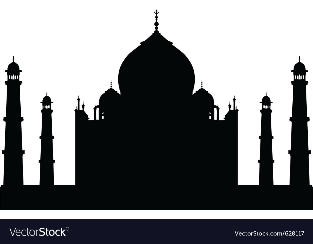 Taj mahal temple silhouette vector