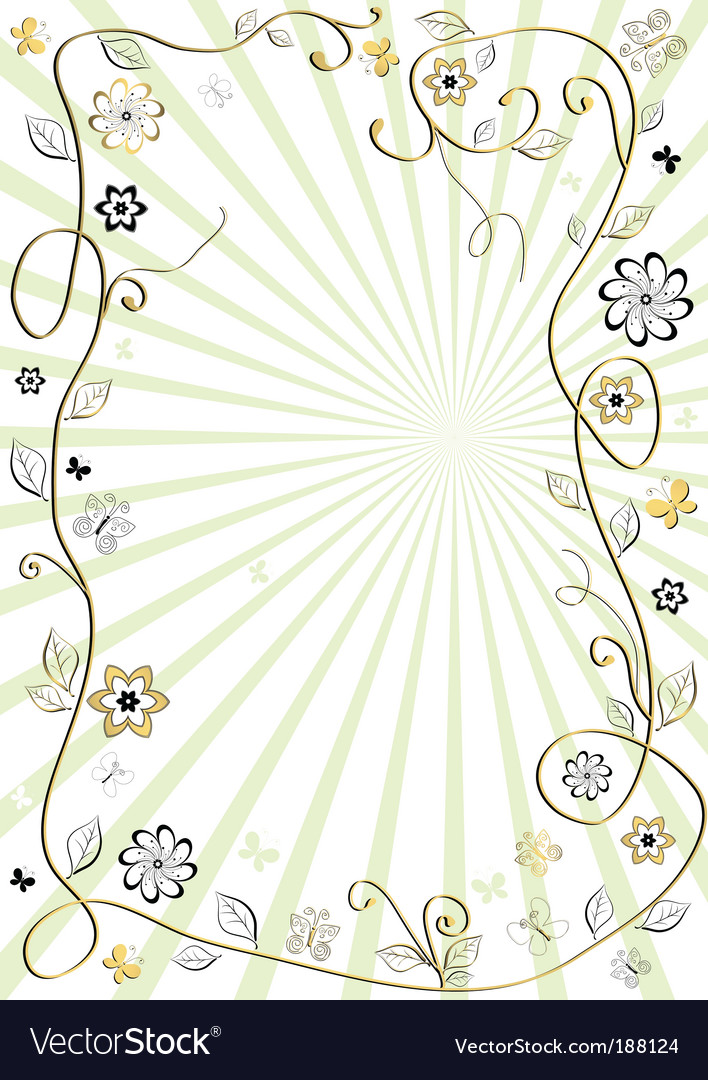 White and golden floral frame vector