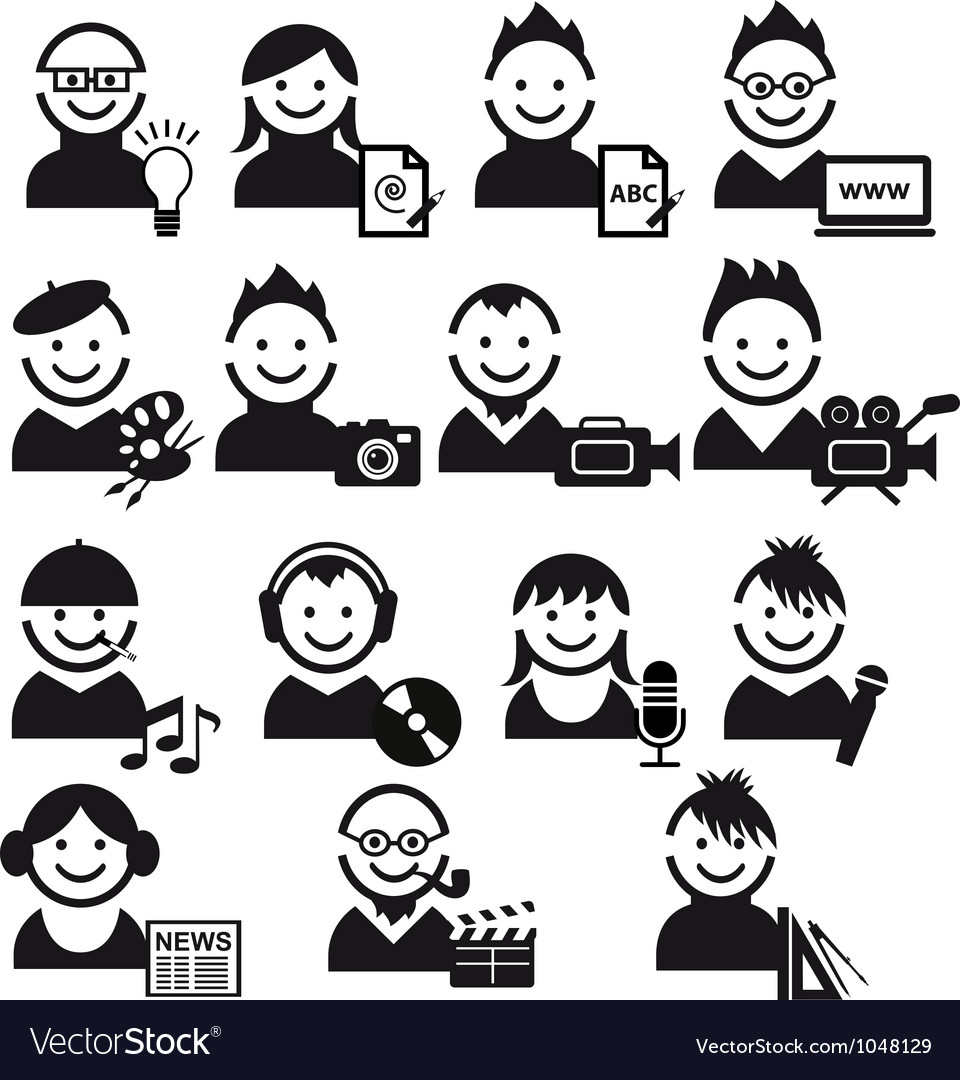 Creative people icon set vector