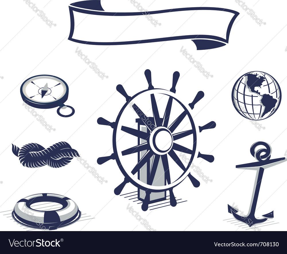 Sea icons set blue vector
