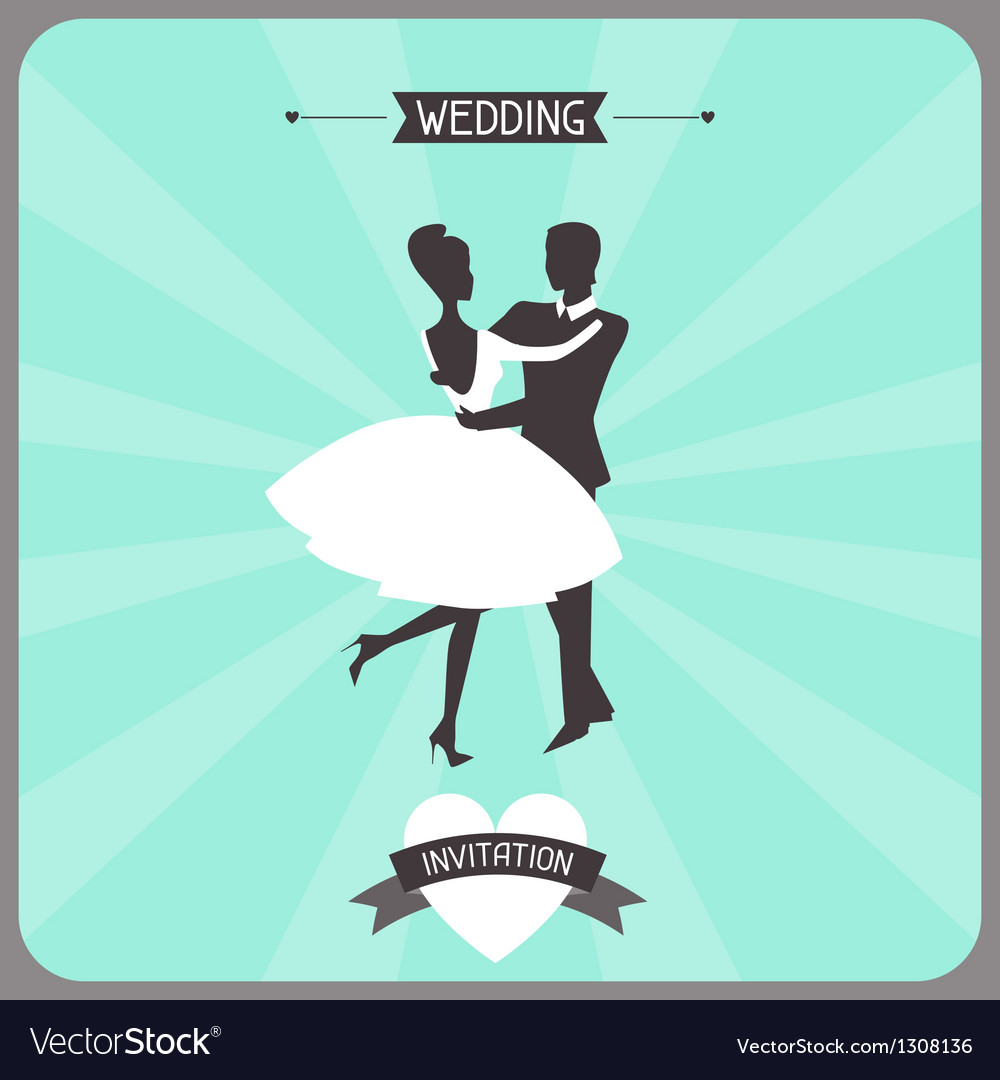 Wedding invitation retro card vector