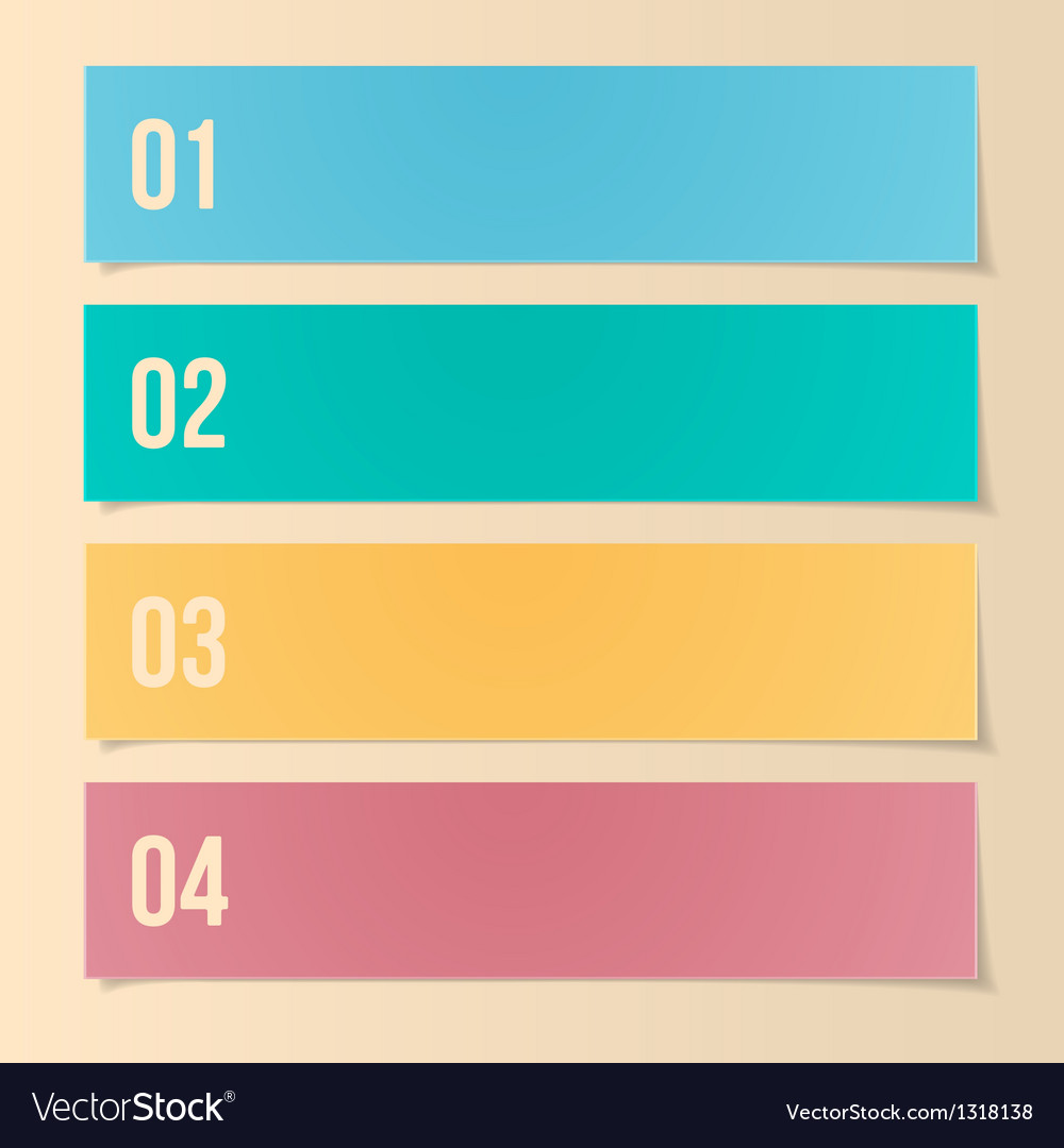 Design template for infographics numbered banners vector