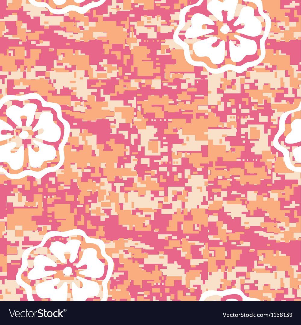 Coral camouflage with cherry blossom vector