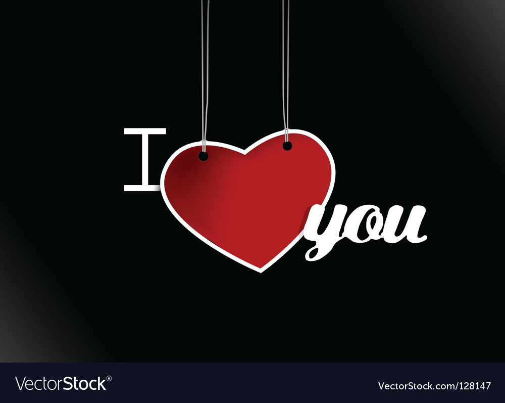 Valentine hanging heart vector