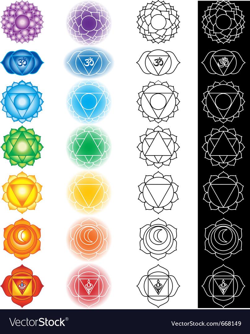 Seven chakras vector