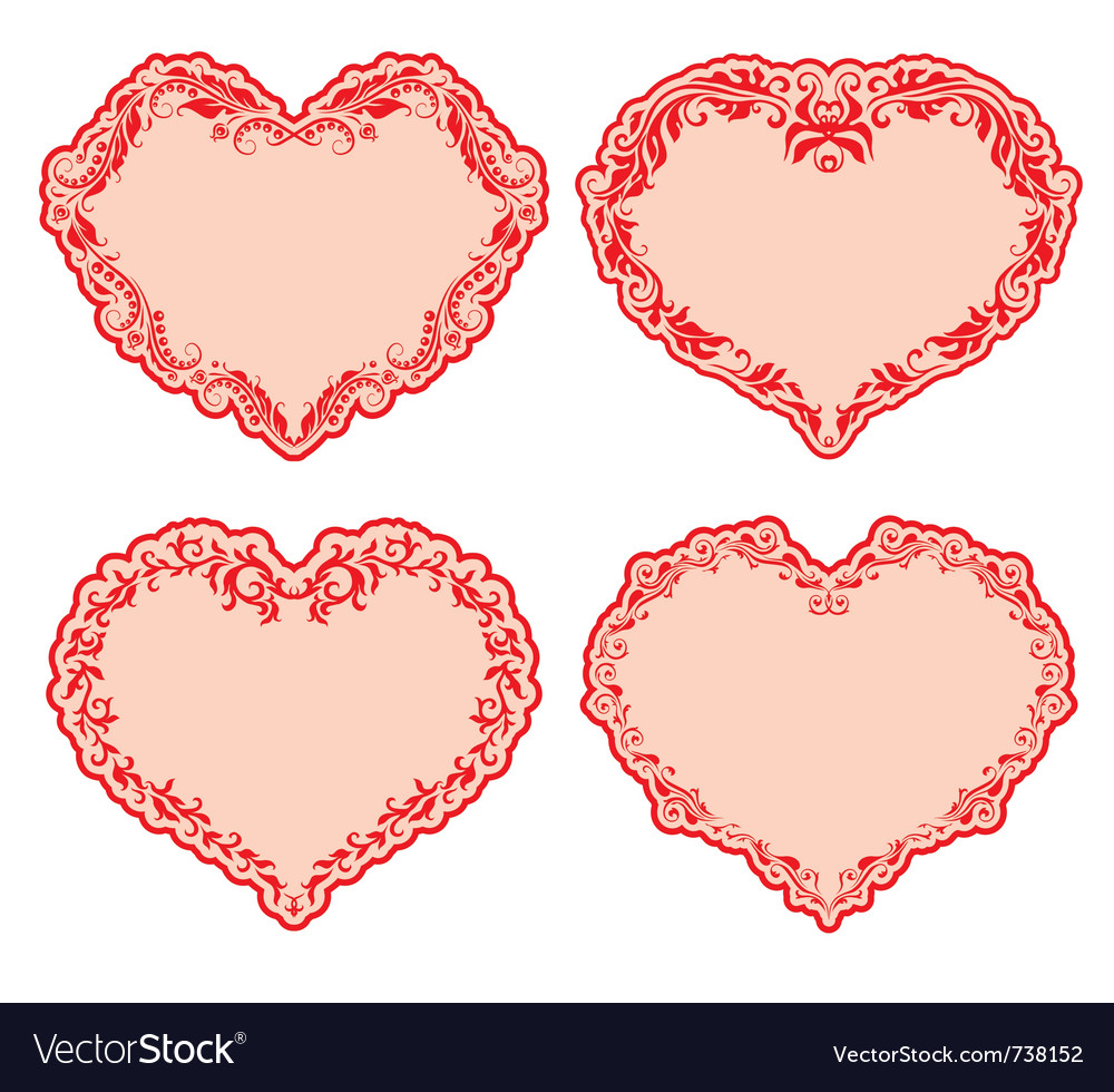 Set of ornate heart frames  vector