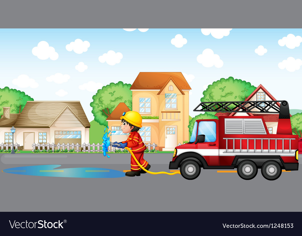 A fireman holding a hose with a fire truck at the vector