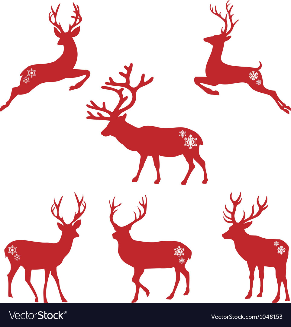 Christmas deer stags vector by amourfou - Image #1048153 - VectorStock