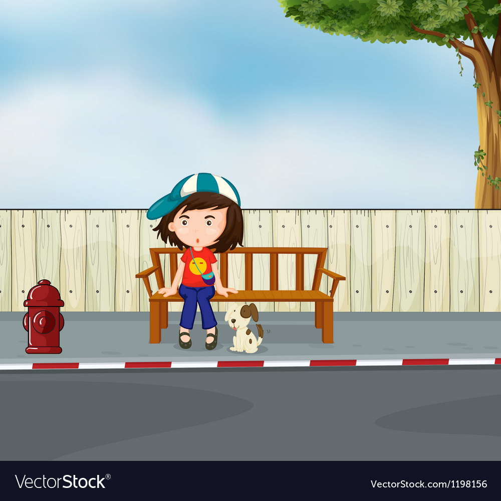 A girl and a dog sitting along the road vector