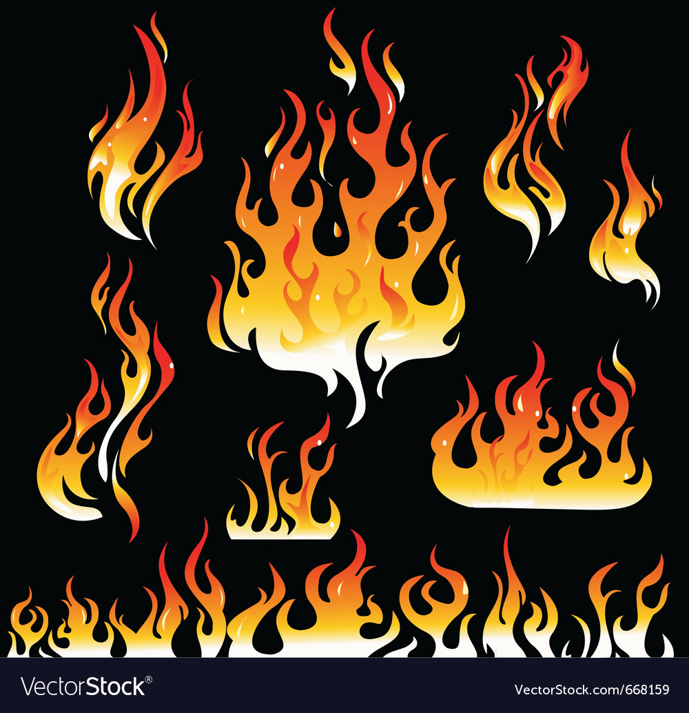 Fire and flame graphic elements vector