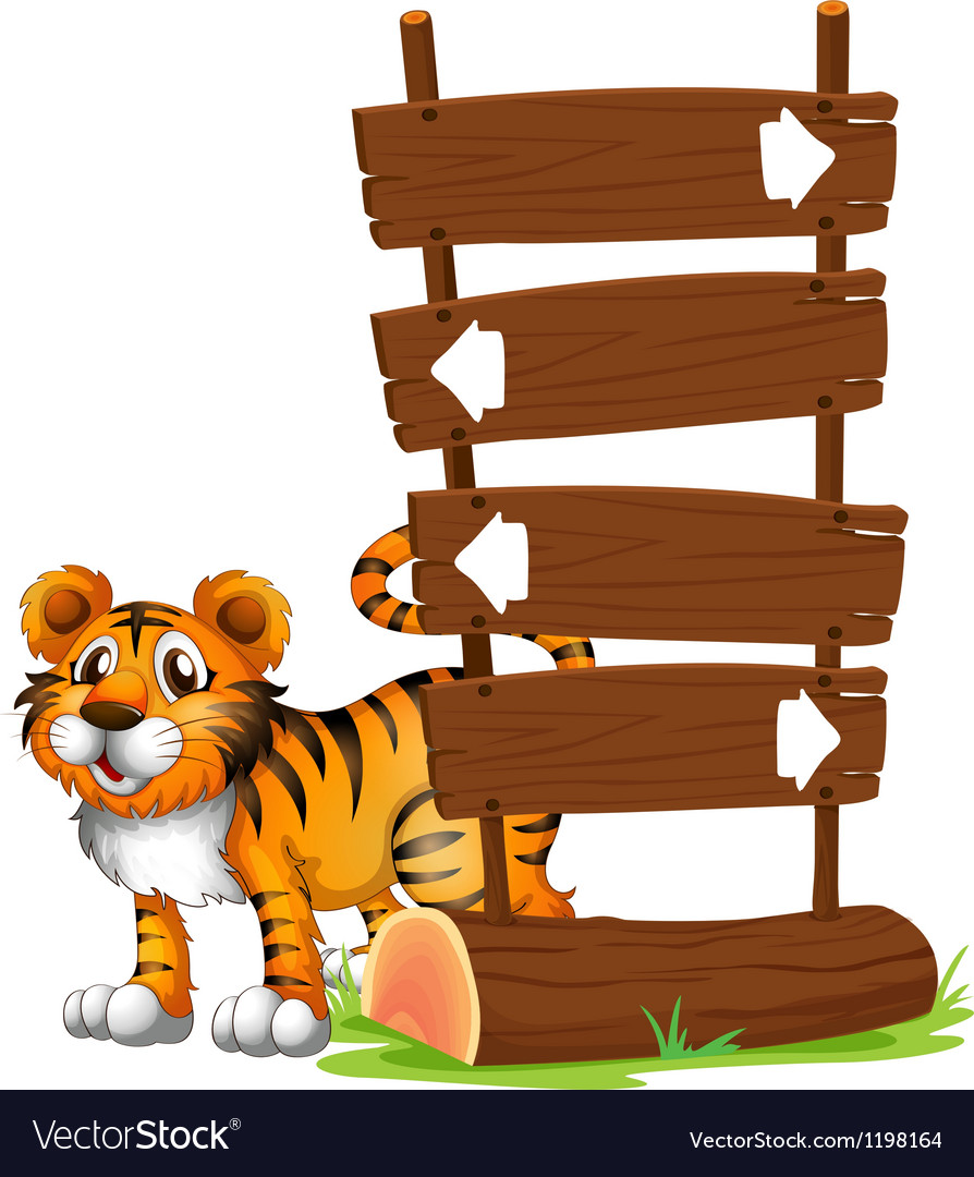 A tiger at the back of a signboard vector