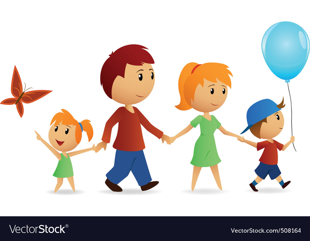 Cartoon happy family on walk vector