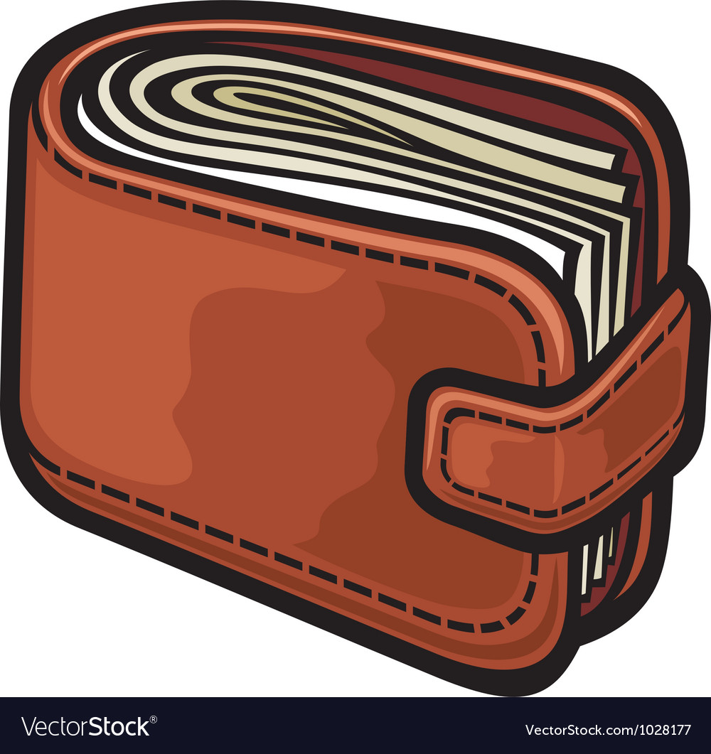Leather wallet with the money vector