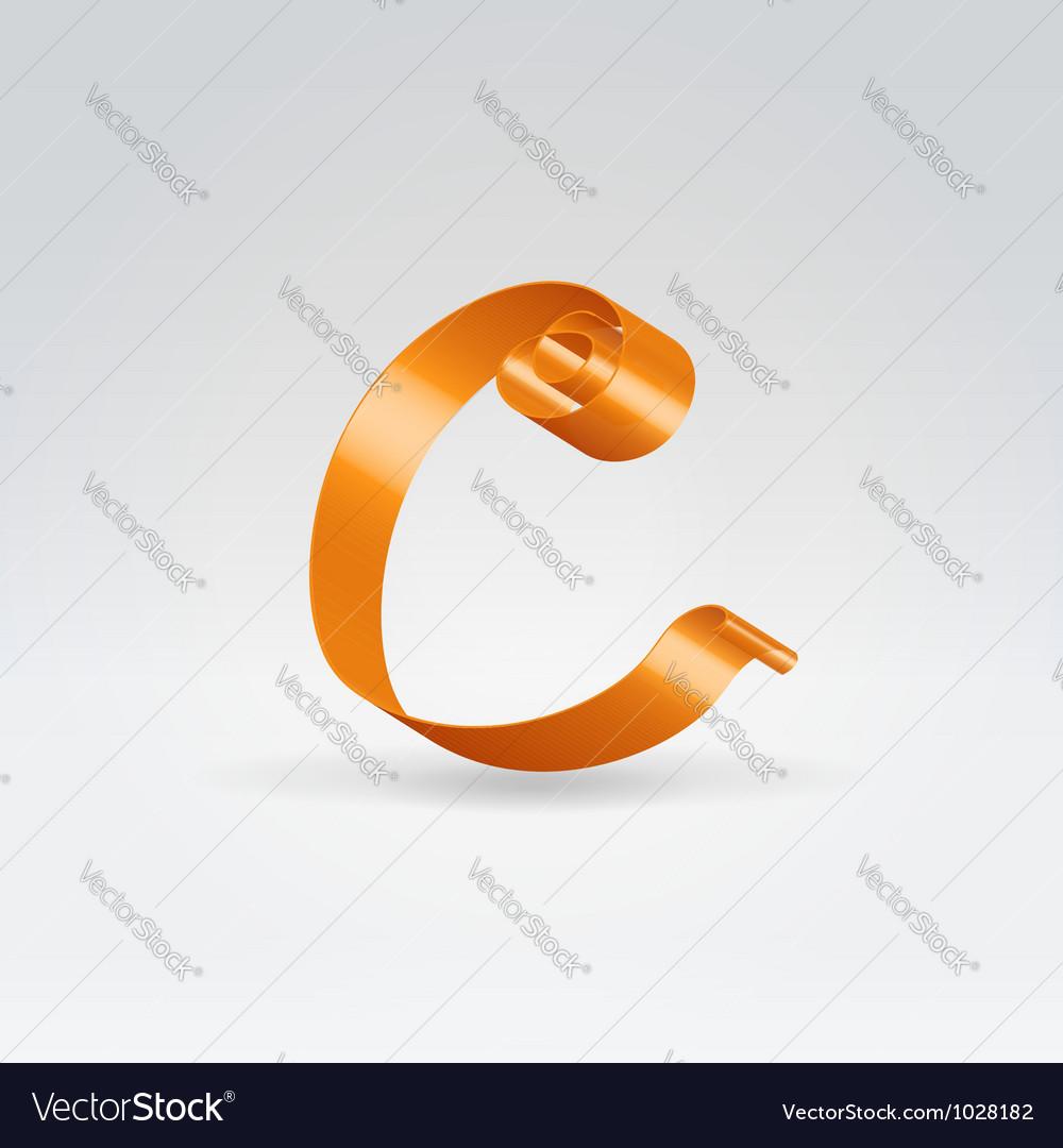 Silk ribbon letter abc vector