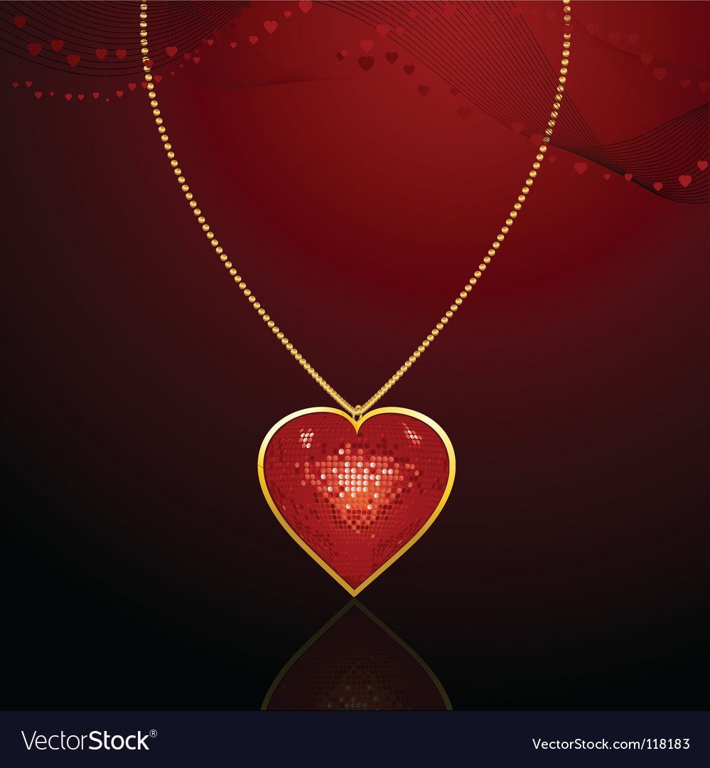 Valentine pearl and heart necklace vector