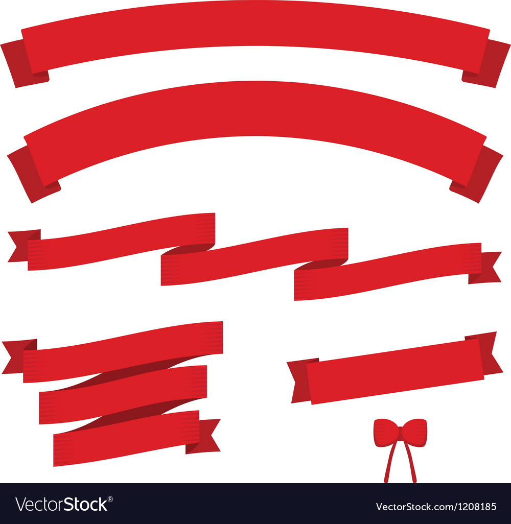 Set of red vintage ribbons vector