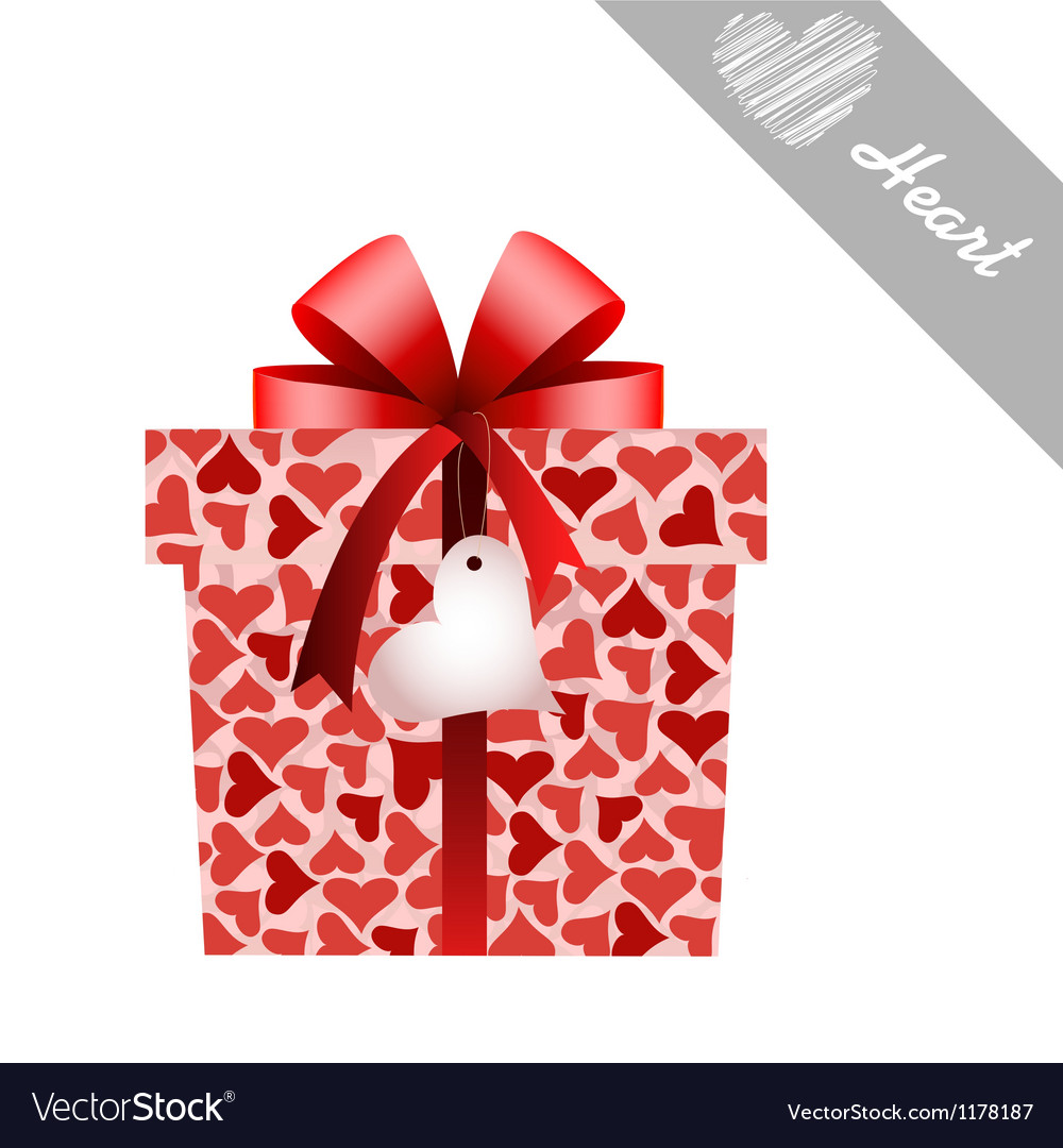Gift and hearts vector