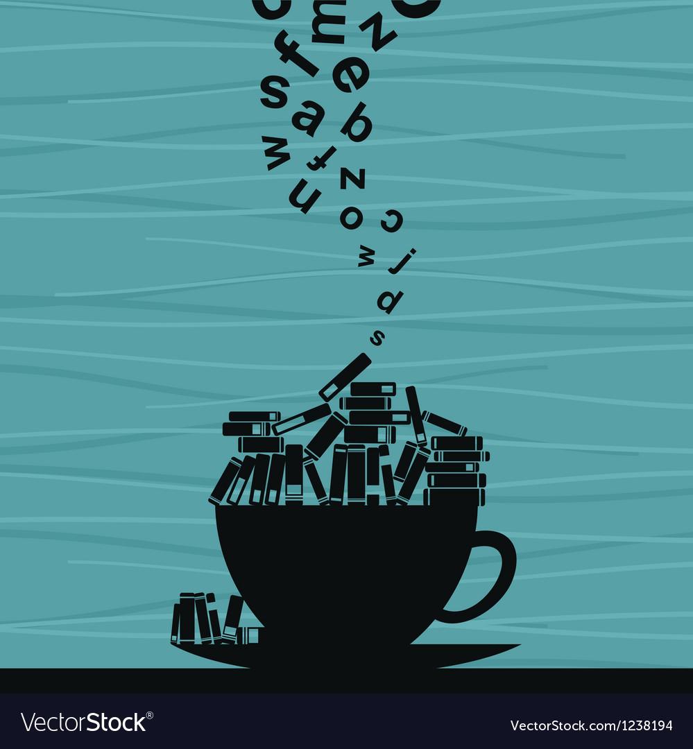 Book cup vector