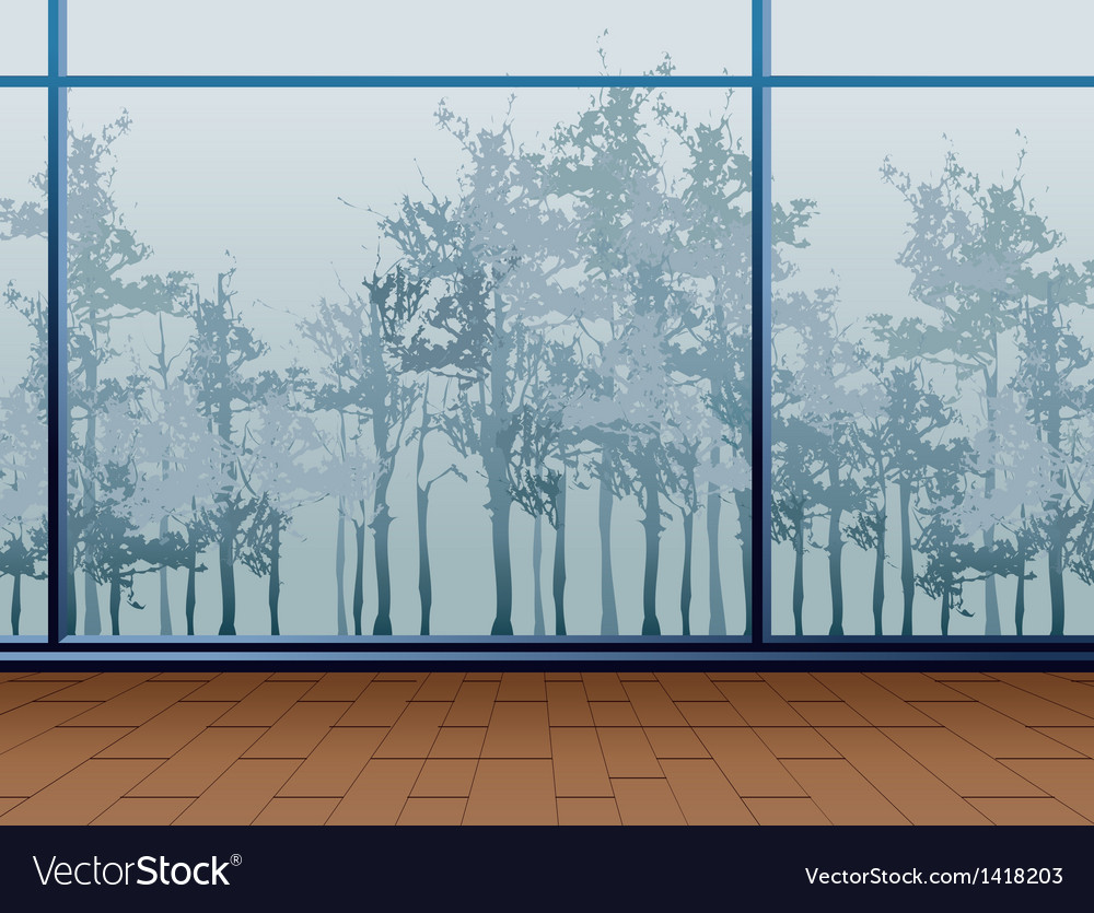 Window forest view vector