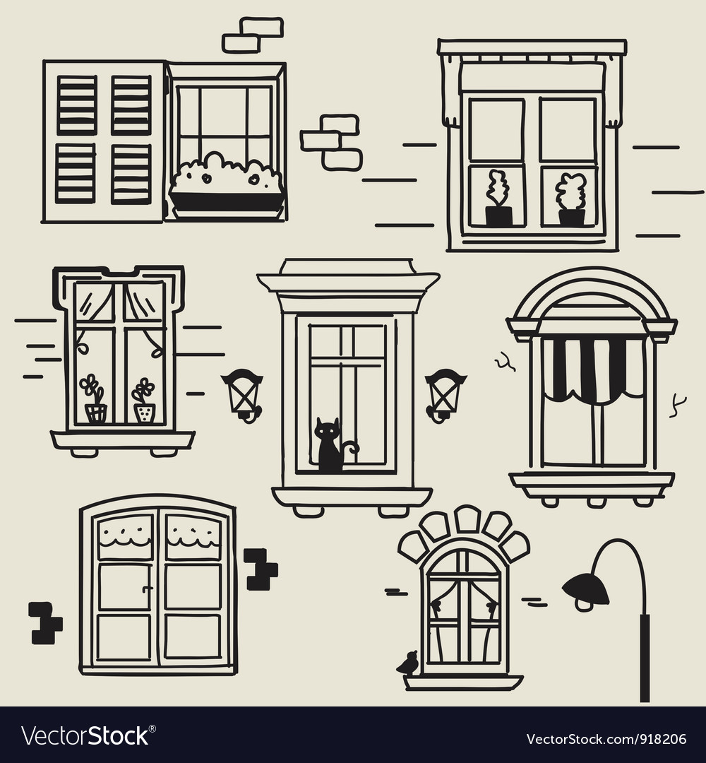 Hand drawn windows vector