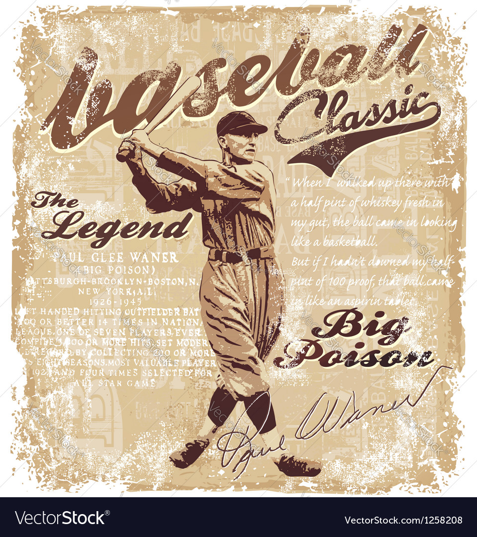 Baseball lagend waner vector