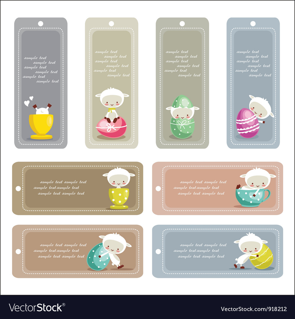 Cute easter labels vector