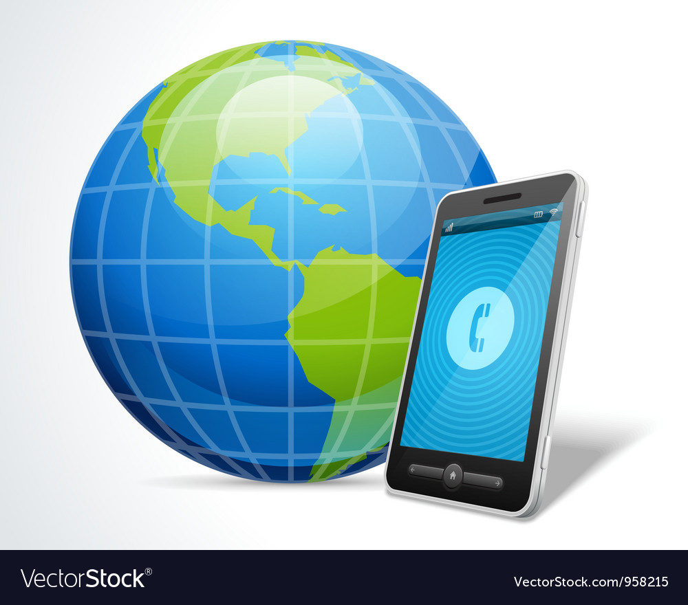 Mobile phone and globe icon vector