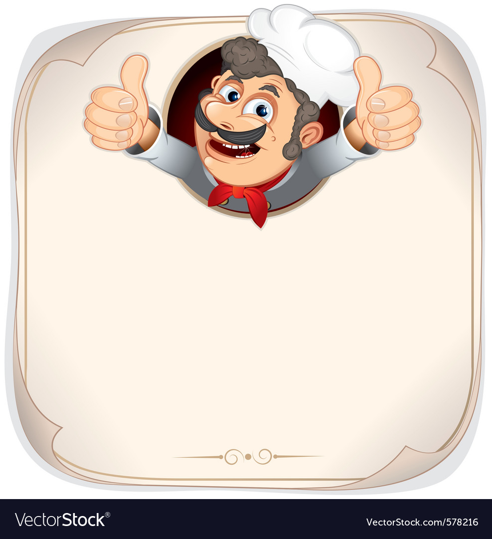 Cartoon chef with menu background vector by PILart - Image #578216 ...