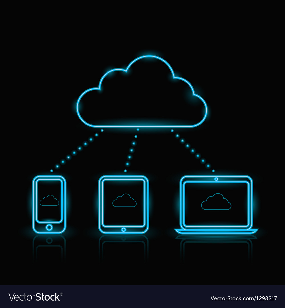 Blue neon cloud vector