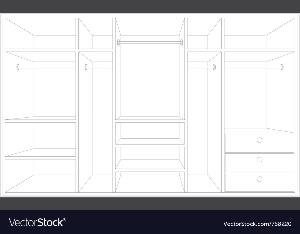 Drawing of a wardrobe vector