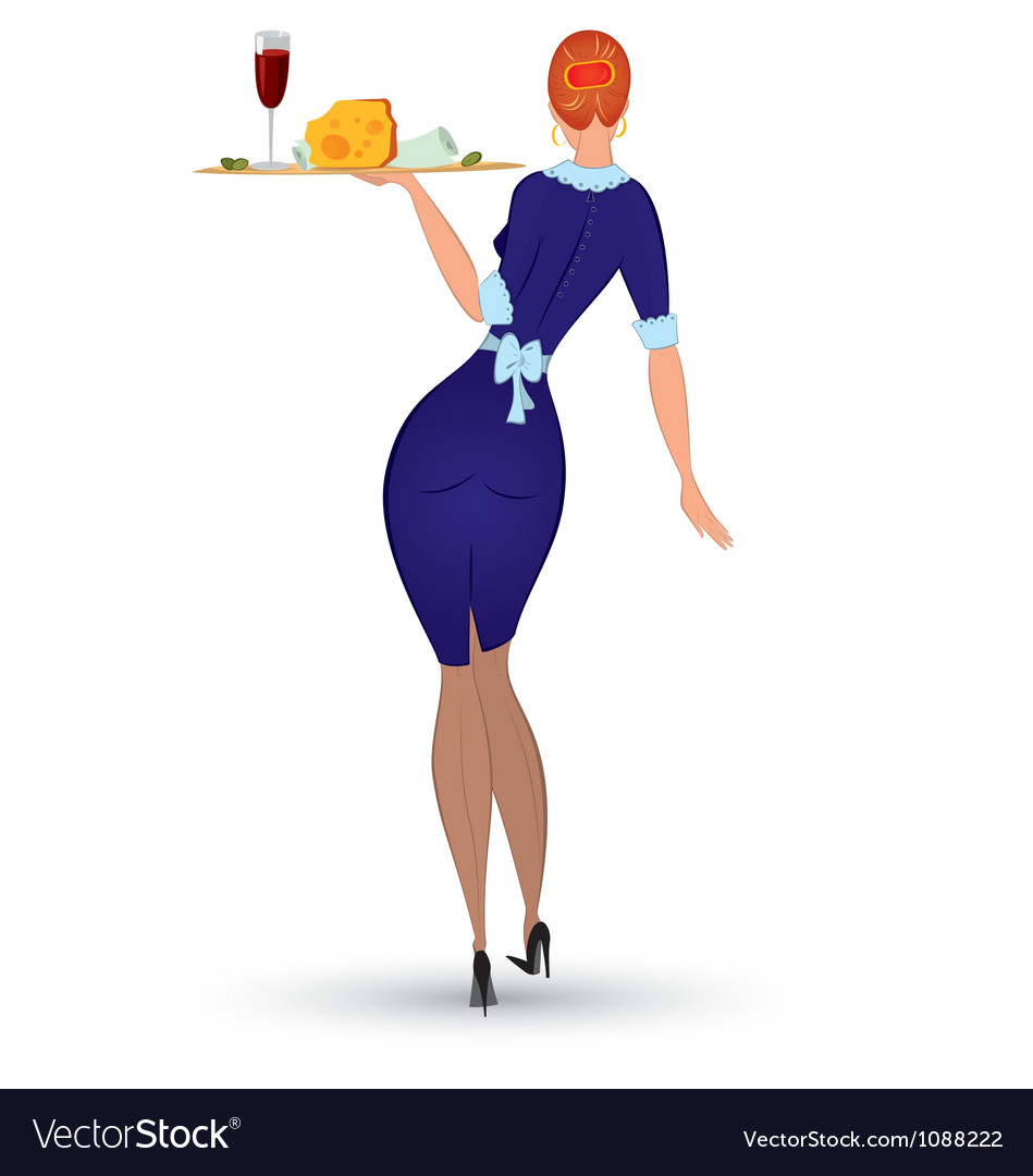 Waitress in blue uniform vector