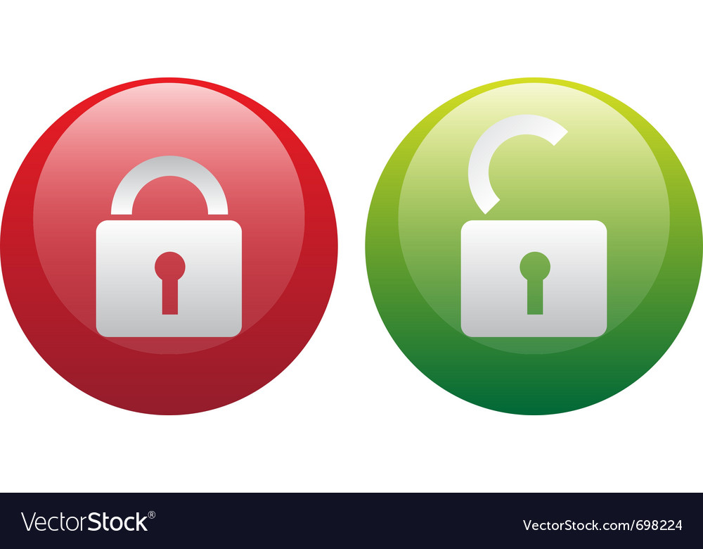 Glassy lock and unlock icon set vector