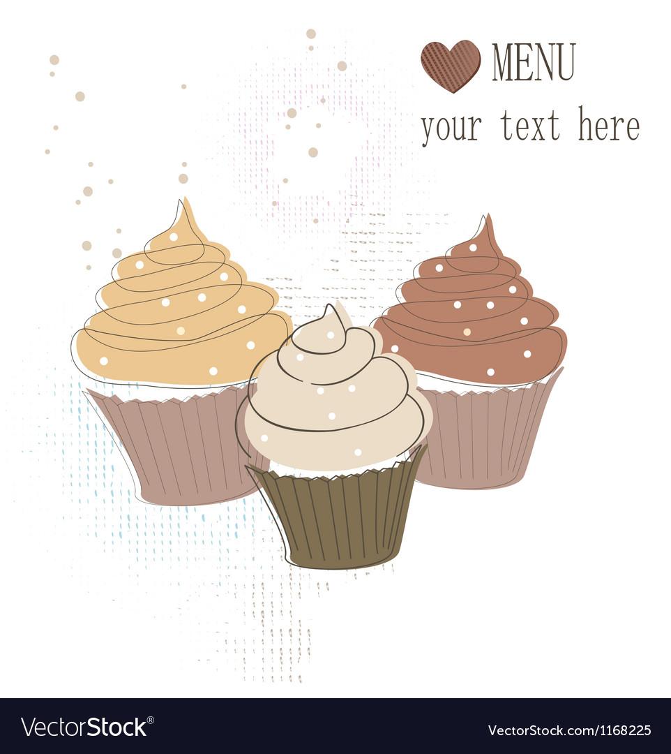 Cupcakes card vector
